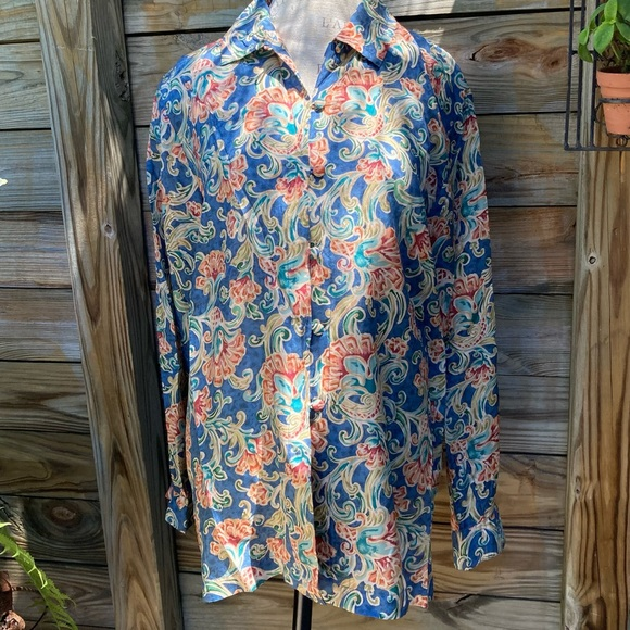 90's VTG 100% Silk Colorful Paisley Button Down